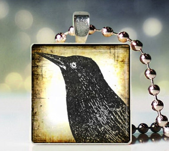 The Old Crow scrabble tile pendant - Crow Pendant - Crow Necklace - Crow Jewelry - Gift for Crow Lover - Crow Charm