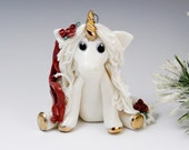 Unicorn with Red Roses Ornament Sculpture Porcelain