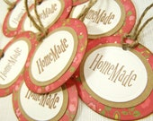 Gift Label Tags Floral Oval Set of 8
