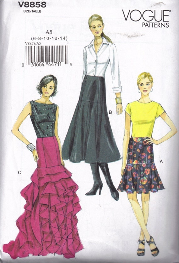 Semi Fitted Ruffled tulip Skirt Vogue 8858 Sewing Pattern Size Xs, S, M 6, 8, 10, 12, 14