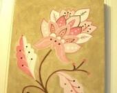 "Baby nursery decor Children wall art Nursery art paintings Kids girls room decor Nursery 11 x 14 pink brown tan ""regal flower"""