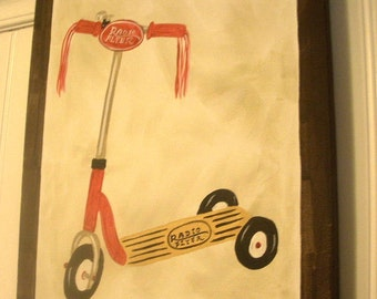 "boy kid room decor..baby nursery wall art..original canvas painting..painted artwork..11 x 14 vintage radio flyer ""scooter time"""
