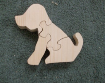 Wooden 4 piece dog jigsaw puzzle