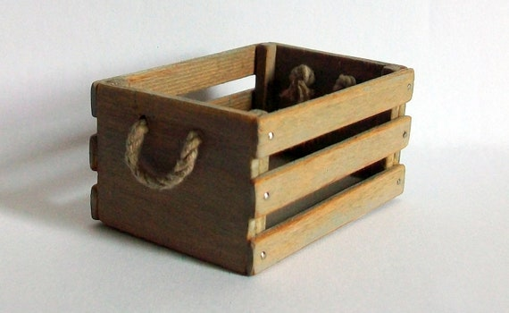 Miniature Crate with Rope Handles (1 inch dollhouse scale)