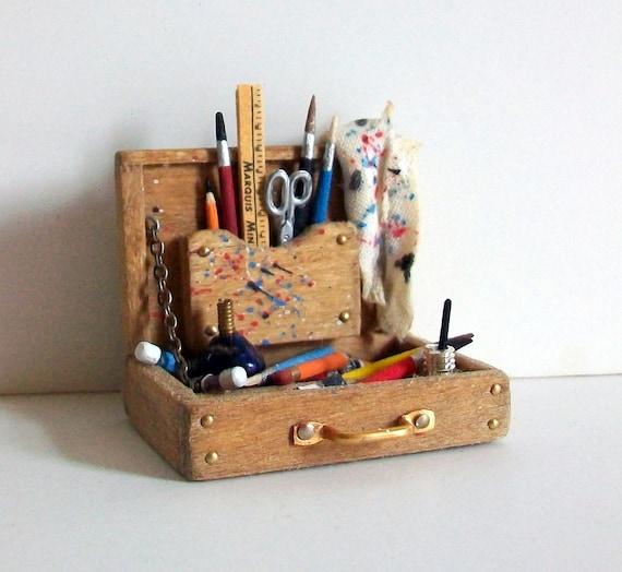 Miniature Artist Paint Box (1 inch dollhouse scale)