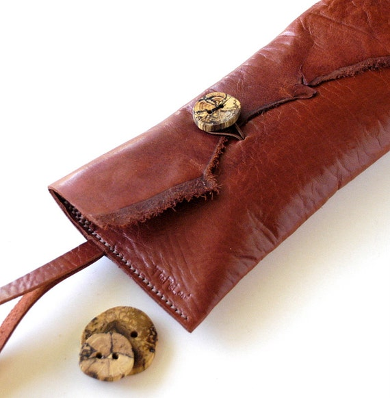 Leather Clutch Wristlet - RUSTIC - Long  and Skinny with Raw Edge