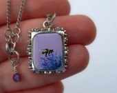 Hand Painted Art Necklace - Buff-tailed Bumble Bee Visits A Thistle - Original Minature Painting
