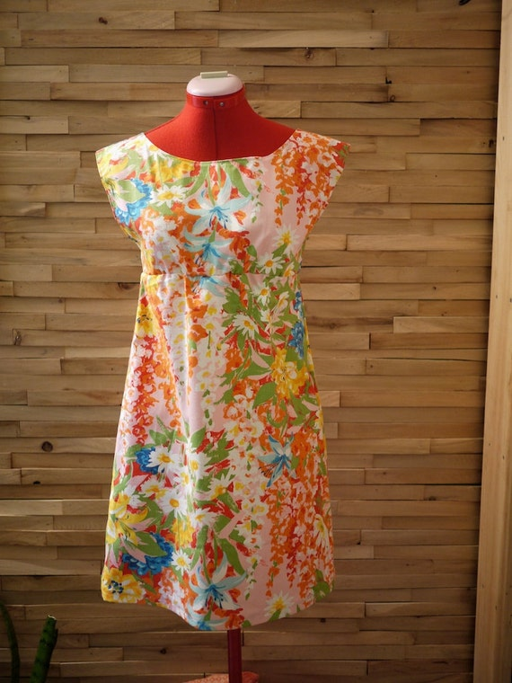 SALE Fun in the Sun Dress~Ready to Ship~Floral Dress~Bright Dress~Day Dress~Sundress~Party Dress~Sleeveless Dress~Size XSmall/Small~Petite