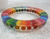 Resin Bracelet, Bangle, Resin Jewelry, Colored Pencil, Teacher Gift, Eco Friendly, Upcycled, Artist, Crafter, Thick, Multi Color, Rainbow