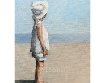 little dreamer: child wearing white sunhat looking out across beach giclee art print