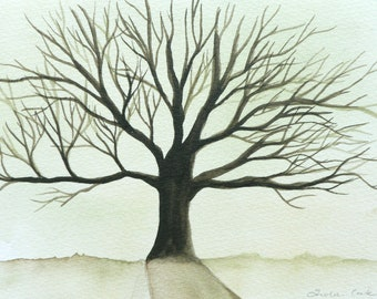 original watercolor painting: tree of life with green yellow background