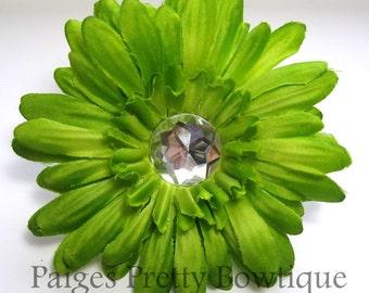 "CLOSEOUT-4"" Lime Green Gerbera Daisy Clip-Hair Flower-Alligator Clip"