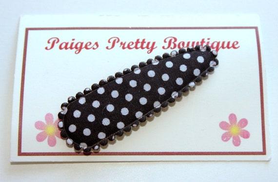 50mm Brown & White Polka Dot Snap Clip-Baby Hair Clip-Toddler Hair Clip
