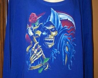 Plus Size 4X Electric Blue Longsleeved Shirt Grim Reeper