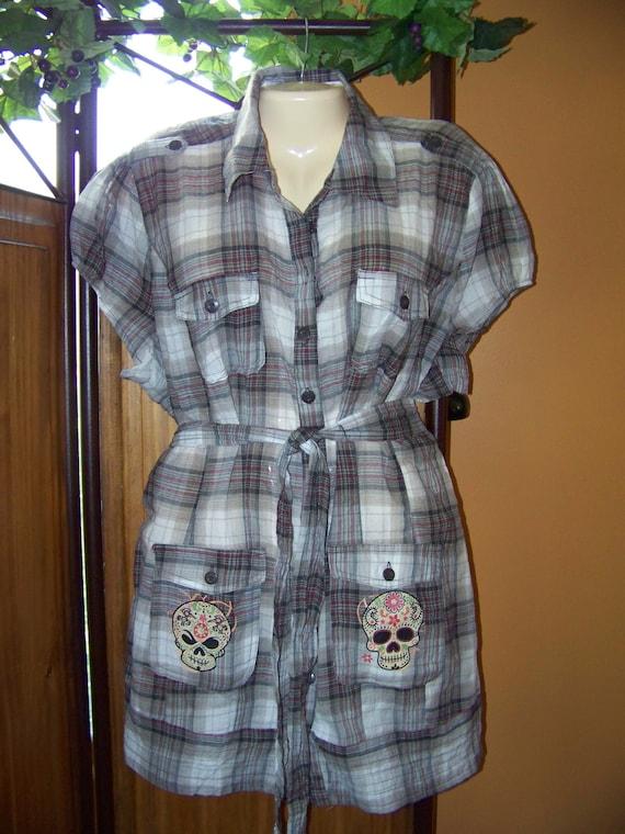 Plus Size Women 2X Plaid Dress Tunic With Sugar Skull Pockets