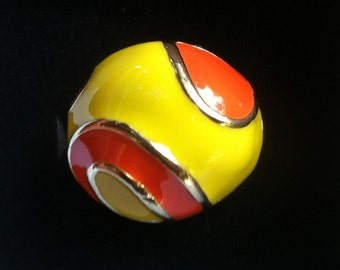 SALE 1960s Enamel and Gold Dome Ring YELLOW and ORANGE size 6