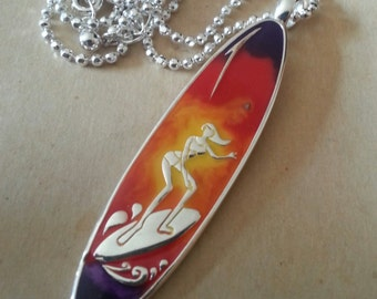 1980s-90s Designer SURFER GIRL Pendant and Chain