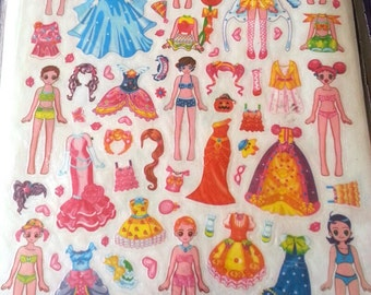 1978-82 Anime Dress-Up Doll Stickers JAPAN Mint 3 ACROSS BOTTOM