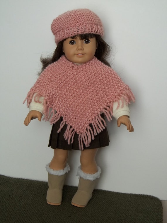 SALE - Pink sweater poncho and beret fit American Girl