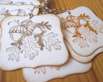 Fall Autumn Leaves and Acorns Gift Tags, Thanksgiving Gift Tags