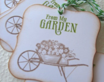 From My Garden Wheelbarrow Gift Tags, Gardening Gift Tags