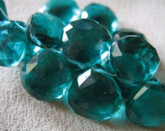 Shop Sale.. 2 4 10 pc, QUARTZ HEART Briolettes Gemstone Bead, Luxe AAA, Apatite Teal Green, 10.5-11.5 mm, Faceted, wholesale hydqtz48 bsc