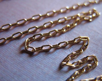 14k Gold Filled Chain by the foot, DRAWN CABLE, Oval  Links, 2.5x1.2 mm, ssgf sgf3 solo