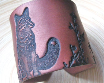 SALE Fox Cuff Bracelet Dark Copper, Bronze Wide Cuff Bracelet, Handmade Jewelry by theshagbag on Etsy