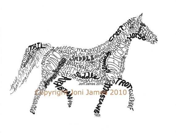Western Art Horse Art Calligraphy Drawing or Horse Word Art Typography ...