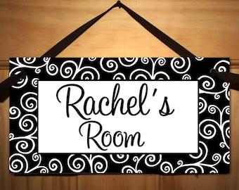 Lots of Swirls Girl Teen DOOR SIGN Kids Bedroom, Playroom Wall Art Decor DS0164