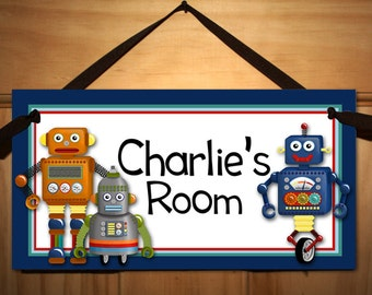 I..am..a..Robot Boys Navy Bedroom DOOR SIGN Wall Art Ds0039