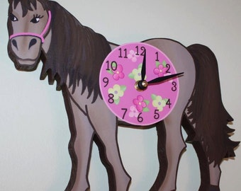 Pretty Pink Horse Wooden WALL CLOCK for Girls Bedroom Baby Nursery WC0034