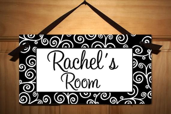 lots of swirls girl teen door sign kids bedroom playroom wall art