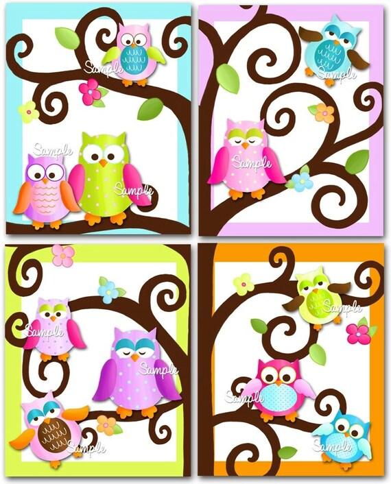 Set Of 4 Fun Owl On A Limb Girls Bedroom 8x10 Art By