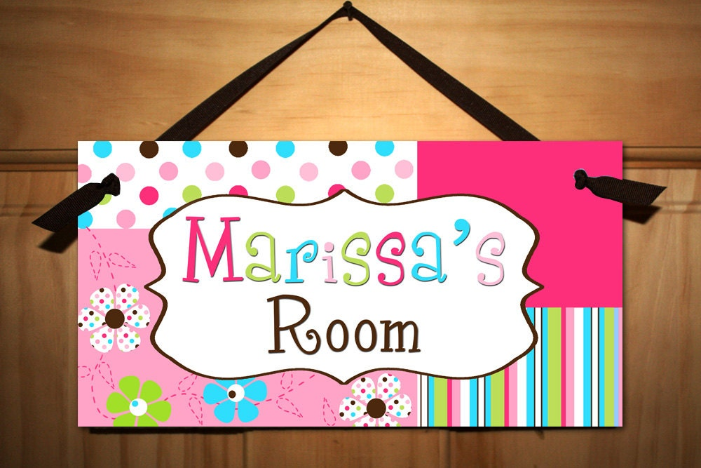 Flower Candy Girl Teen Door Sign Kids Bedroom By Toadandlily