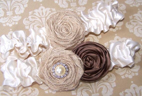 Wedding Garter Set - Chocolate Brown and Tan Burlap Rosettes, Ivory Satin Ruffle Band, Custom Colors Available
