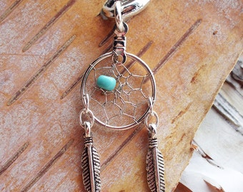 Dreamcatcher Charm Dreadlock Bead Silver Accessory Extension Accessories Dread Boho Bohemian Hippie Silver Dangle