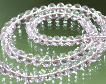 1/2 Strand AAA Pink Amethyst Micro-Faceted Rondelles 5mm - 7mm