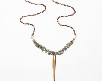 Pyrite and Brass Spike Necklace on a Copper Cable Chain