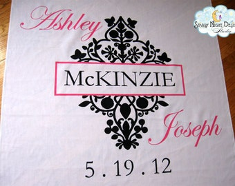Aisle Runner, Wedding Aisle Runner, Custom Aisle Runner with Damask and Monogram on Quality Fabric that Won't Rip or Tear