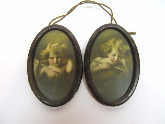 Antique Cupid Awake Cupid Asleep Pictures - Oval Tin Frames - Shabby & Rusty - Vintage Wall Decor - Shabby Cottage