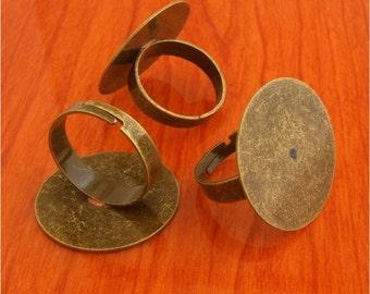 40pcs 25mm Pad brass base free nickel Adjustable antique bronze RING Base Blank widen Findings