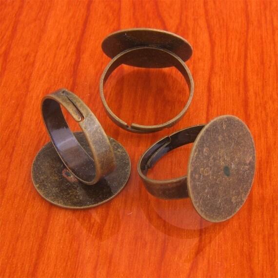 20pcs 20mm antique bronze tone blank ring Adjustable base