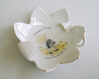 Vintage Porcelain Holly Hobbie Trinket Dish Japan .