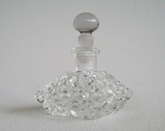 Vintage Lead Crystal Cut Glass Perfume Bottle Czechoslavakia