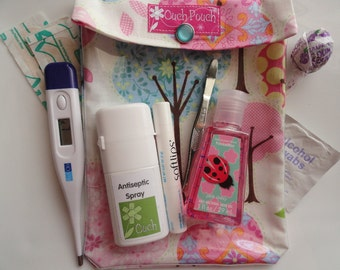 """Medium Ouch Pouch """"Clear Front Pocket"""" First Aid Organizer for Diaper Bag Purse for New Mom Baby Toddler (5x7 Pretty Little Trees Fabric)"""