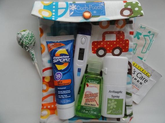 Medium Ouch Pouch First Aid Organizer for Diaper Bag Car Purse Boo Boo's (5x7 Ann Kelle Cars Organic Fabric) Baby Shower Gift
