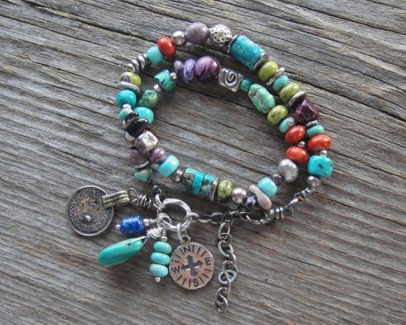 Artisan Jewelry Handcrafted Double Wrap Bracelet Turquoise