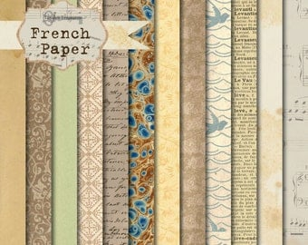 Instant Download -French Paper 12x12 printable paper set digital download