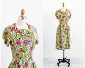 vintage 1930s dress / 30s dress / Chartreuse Green and Pink Floral Novelty Print Dress